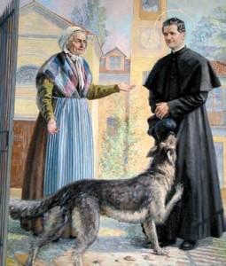 Don Bosco, mamma Margherita ed il cane Grigio (pittura della Casa Madre dei Salesiani a Torino)
